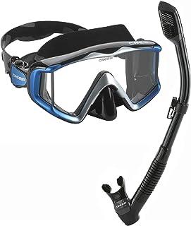 Cressi Italian Designed Liberty Triside Panoramic View Tempered Glass Lens Premium Scuba Snorkeling Mask Dry Top Snorkel Set