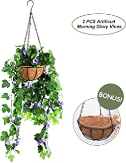 OSLAMP Artificial Morning Glory Plants Hanging Basket Fake Decorative Silk Flowers Vines for Home Garden Fence Wedding Indoor Outdoor Blue