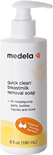 Medela Quick Clean Breast Milk Removal Soap, No Scrub Hypoallergenic Soap for Pump Parts and Nursing Apparel, Removes Breast Milk Residue Up to 3 Days Old, 6 Fluid Ounces