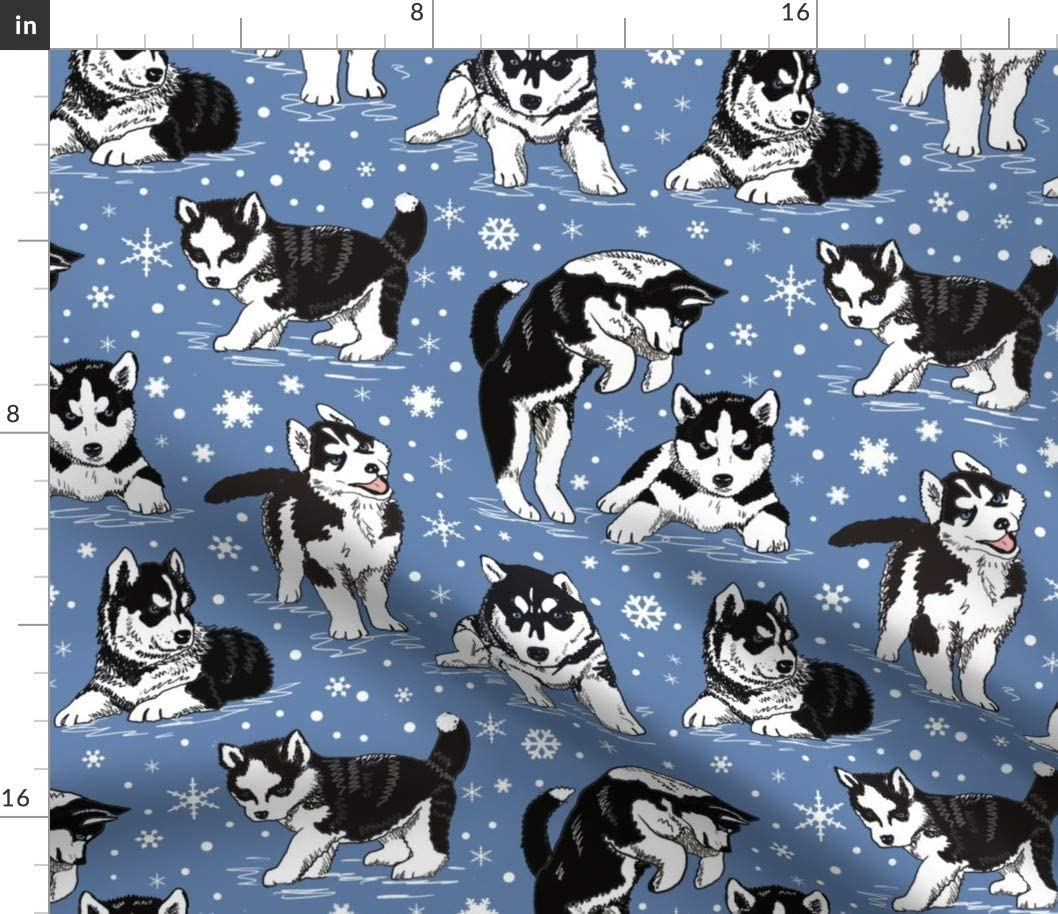 Spoonflower Fabric - Husky Puppies Puppy Snow Sl Dogs Snowflakes Max 59% OFF Austin Mall