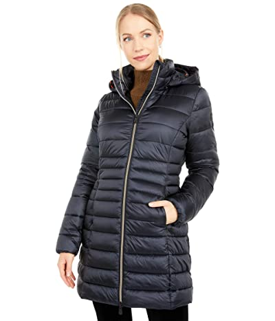 Save the Duck Iris Shiny Iridescent Puffer Coat with Removable Hood (Black) Women