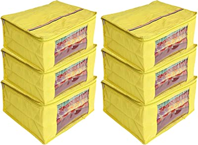Heart Home 6 Pieces Raw Silk Saree Cover Wardrobe Organizer (Yellow) - CTHH11500