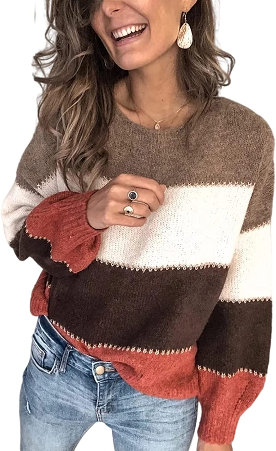 Womens Fall Sweater Long Sleeves Crew Neck Striped Knitted Casual Oversized Pullover Tops