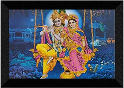 SAF Radha Krishna UV Textured Synthetic Frame Painting 20 Inch X 14 Inch SANFM31303