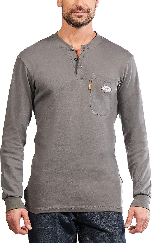 Rasco NEW before selling Fire Lowest price challenge Retardant Henley T Shirt Gray 100% X-La Cotton
