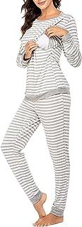 Pijama de Lactancia Invierno Ropa Premamá Pijamas Embarazada Mujer Raya Manga Larga Top y Pantalones Conjunto Maternidad