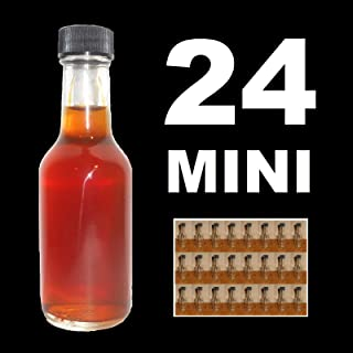 SHOOTERS!!! 24 PACK GLASS MINI BAR LIQUOR BOTTLES 50ml WITH BLACK CAPS SAMPLE SHOT SIZE AS SEEN IN HOTEL MINIBAR PARTY FAVORS FILL AND GIVE