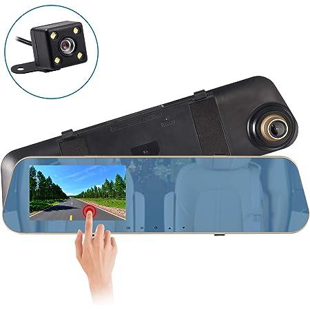 Autoutlet Spiegel Dashcam Full Hd 1080p Dual Lens 4 3 Touchscreen Auto Dvr Spiegel Dash Cam Recorder 170 Weitwinkel Kamera Mit 4 Led Kamera 32g Speicherkarte 24 Stunden Parküberwachungsfunktion Auto