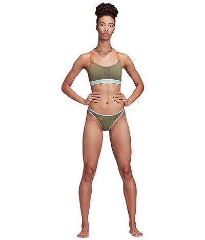adidas Sporty Bikini Bottoms Swimwear (Legacy Green/Green Tint/App Solar Red) Women