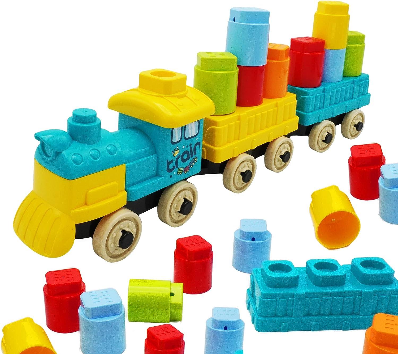 Kidazon - Train Building Block Set for Boys Girls Toddler Age 3,4,5,6,7,8+