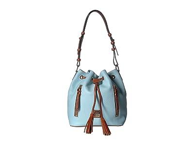 Dooney & Bourke Pebble Cooper Drawstring (Pale Blue/Tan Trim) Drawstring Handbags