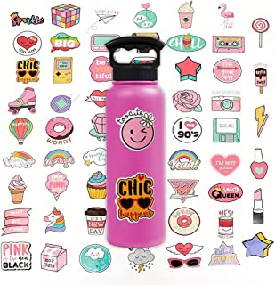 Stickers for Water Bottles Cute Pink Teen Girl , Waterproof Durable Trendy Vinyl Laptop Decal Stickers Pack for Bicycle, Skateboard, Computer, Travel Case ravel Extra Durable 100% Vinyl (60 Pcs)