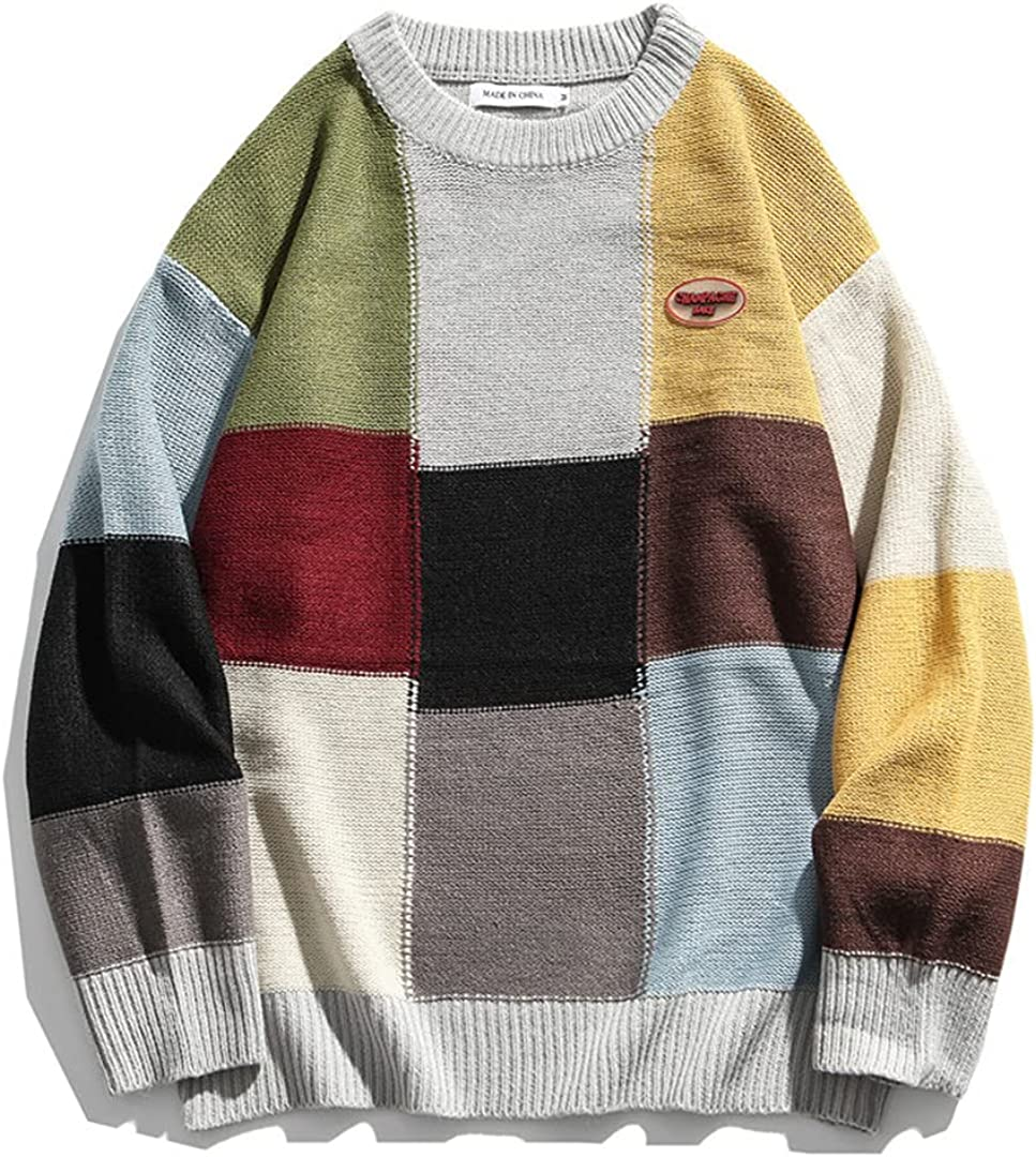 Sinubiser Winter Color Block Patchwork Knitted Sweaters Men Women Hip Hop Casual Knitwear Outwear