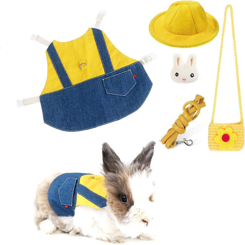 Pet Rabbit Dresses 5 Pcs Denim Vest Le Harness Austin Mall Max 76% OFF Animal and Small