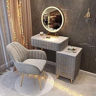 MYAOU Coiffeuse pour Filles avec tiroirs cosmétiques Table de Toilette Luxueuse avec Table d'appoint et miroirs éclairés p...