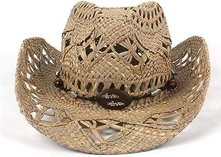 Unisex Western Cowboy Hat Handmade Weave Straw Hat Summer Sun Lifeguard Jazz Caps