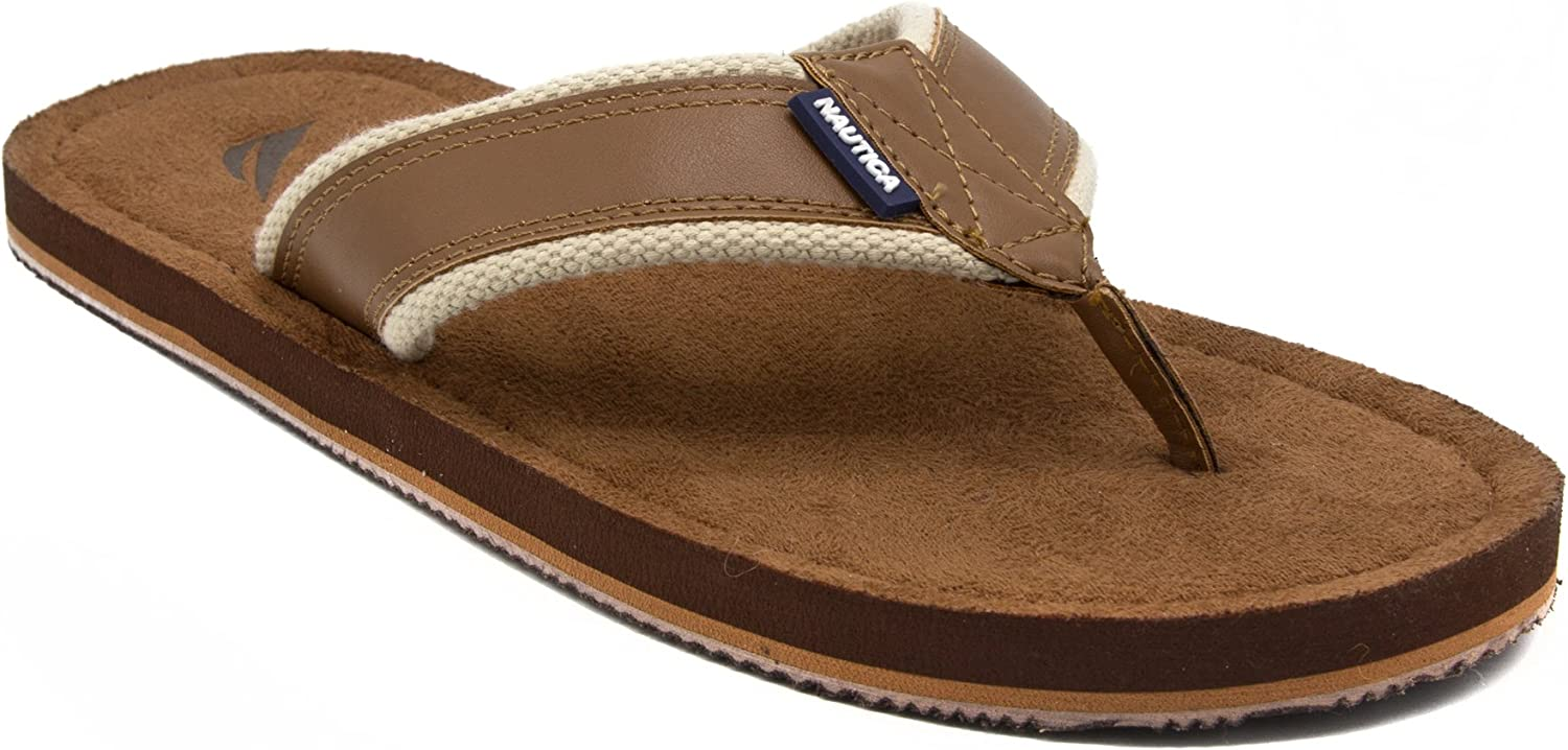Nautica Men's Tayrona Flip Flop, Rustic Style Fabric Lined, Beach Sandal-Ginger Smooth-11