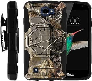 MINITURTLE Case Compatible w/ LG K4 Case, Optimus Zone 3, Spree, LG Rebel [Armor Reloaded] Rugged Shell Armor Shell Belt Clip Case Fallen Leaves Camouflage