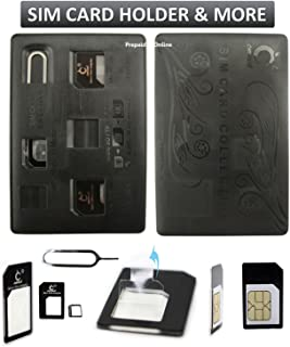SIM Card Holder Case, Credit Card Style Slim & Compact for Wallet with Micro Nano Sim Card Adapter & Pin Tool, Holds 4 SIM Cards & 1 MicroSD/TF Memory Card