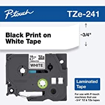 "Brother Genuine P-touch TZE-241 Tape, 3/4"" (0.70"") Standard Laminated P-touch Tape, Black on White, Perfect for Indoor or Outdoor Use, Water Resistant, 26.2 Feet (8M), Single-Pack"