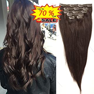 d433afde100 WENYU Hair Clip in Hair Extensions for Women Beauty 100% Human Hair Clip in  Extensions