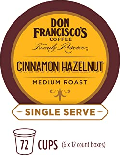 Don Francisco's Cinnamon Hazelnut Flavored (72 Count) Single-Serve Coffee Pods, Compatible with Keurig K-Cup Brewers