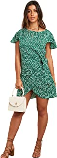 Polka Dot Printed Mini Dress with Tie Side Detail