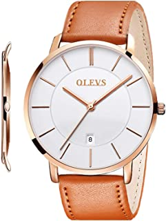Mens Watches Minimalist Ultra Thin Fashion Casual Analog Quartz Date Watch Waterproof Slim Simple Big Face Dress Wrist Watch with Retro Leather Band for Men