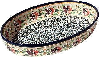 """Polish Pottery Oval Baker From Zaklady Ceramiczne Boleslawiec #350-du116 Unikat Pattern, Width: 12"""" Length: 8.5"""""""
