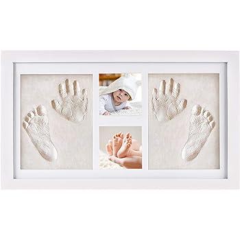 Baby Handabdruck und Fu/ßabdruck Fotoalbum Bilderrahmen Set,Baby Fussabdruck Set,Babyhaut kommt nicht mit Farbe in Ber/ührung,Baby Foto Andenken