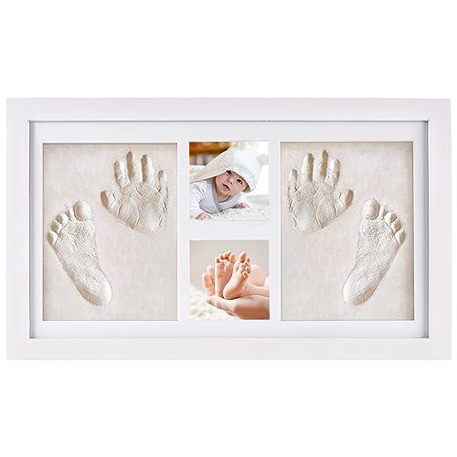 Cadre photo bébé NIMAXI avec empreinte en plâtre, dimension 41x23cm, couleur blanc, cadre photo kit empreinte main et pied