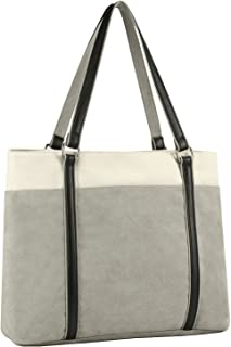 "Plambag Canvas Laptop Tote Bag 15.6"" Work Shopper Shoulder Handbag for Women"