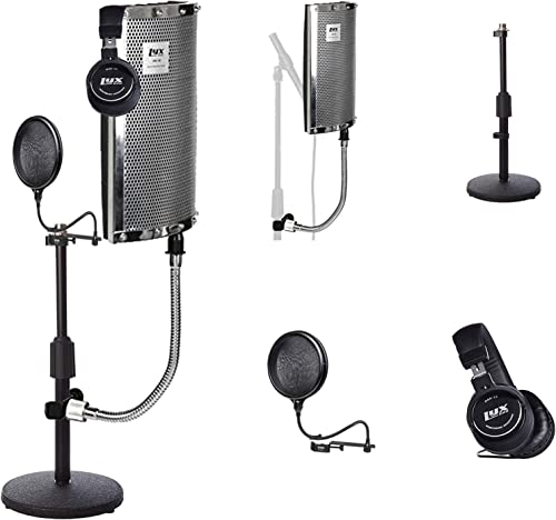 new arrival LyxPro Gooseneck Vocal Booth 40 Portable Acoustic Instrument Shield, Sound Absorbing Panel, with Adjustable Desktop Microphone Stand and Dual new arrival Layer Pop Filter and Professional popular Studio Headphones online