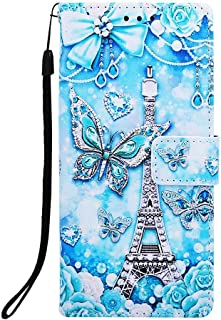 NVWA For Apple iPhone 7 Plus / 8 Plus / 6s Plus / 6 Plus Phone Case PU Leather Wallet [Kickstand Wrist Strap][Credit Card Slot] Magnetic Closure Stand Flip Full Body Protective Cover (Tower Butterfly)