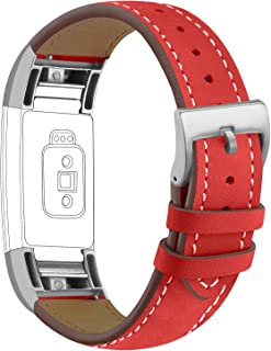 iGK Leather Replacement Bands Compatible for Fitbit Charge 2, Genuine Leather Wristbands