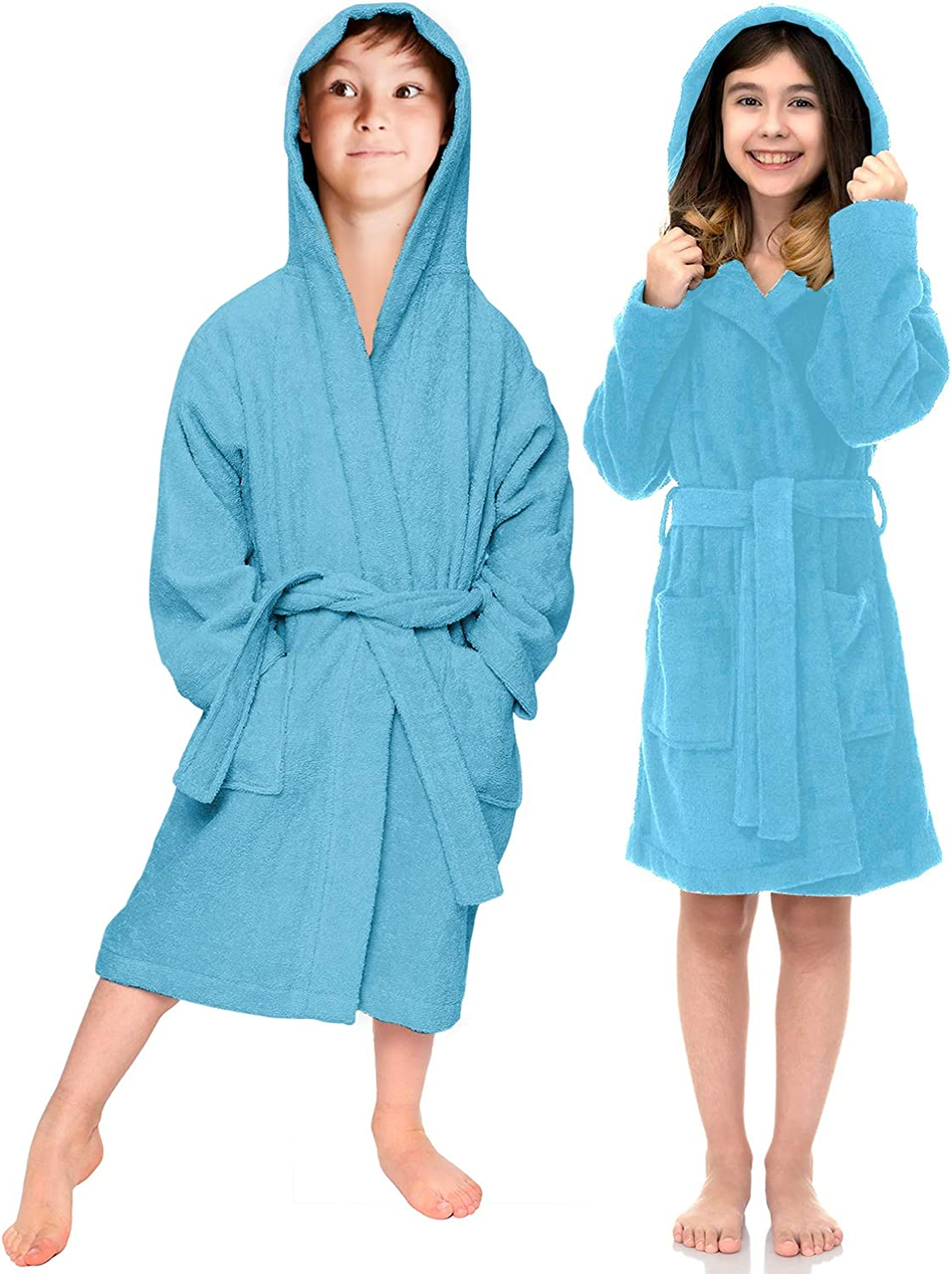 Kids Hoodie Dressing Gown Unisex Bath Towel Girls Boys Hooded Dryrobe Terry Towelling Bathrobe With Front Two Pockets belt and Hood Gowns