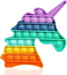 HiUnicorn Pop Its Rainbow Bubble Push Sensory Fidget Toy, Unicorn Toy Gift Pop Educational School Game Crafts for Kids Tee...