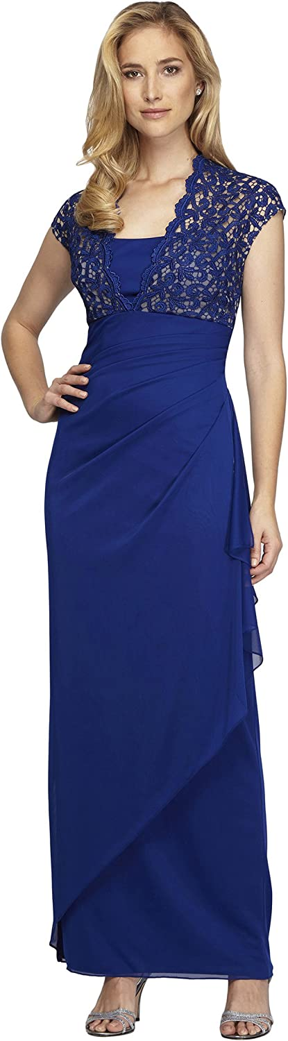 Alex Evenings Long Dress with Lace Bodice and Ruched Skirt
