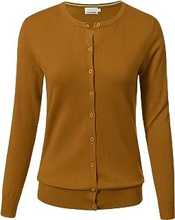 ARC Studio Women Button Down Long Sleeve Crewneck Soft Knit Cardigan Sweater (S-3XL)
