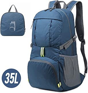 Lixada Backpack 35L Lightweight Folding Water Repellent Bag Pack for Camping Climbing Hiking Traveling Schooling