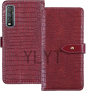 YLYT Shockproof - Red Flip Leather TPU Silicone Luxury Cover Stand Wallet Case For Vivo Y70t 6.53 inch Pouch With Card Slo...