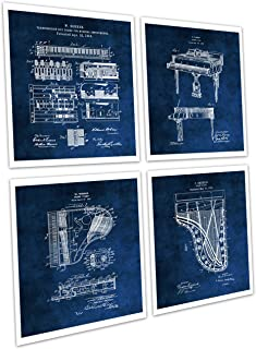 Grand Piano Art Set of 4 Unframed Piano Blue Prints Music Ro