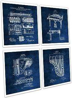 Gnosis Picture Archive Grand Piano Wall Decor Set of 4 Unframed Piano Blue Prints Music Room Decor Piano Musician Gift Ideas Patents_Piano_Blue4A