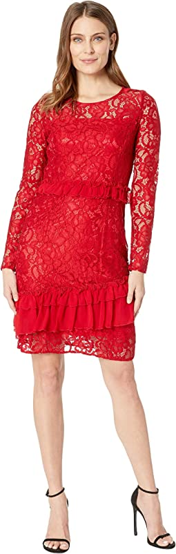 Lace and Ruffle Chiffon Long Sleeve Dress