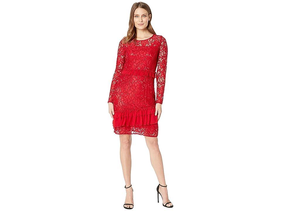 Taylor Lace and Ruffle Chiffon Long Sleeve Dress (Scarlet) Women