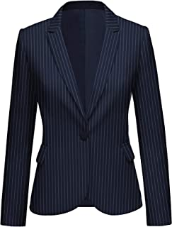 LookbookStore Women Striped Blazer Front Buttons Work Office Blazer Jacket Suit