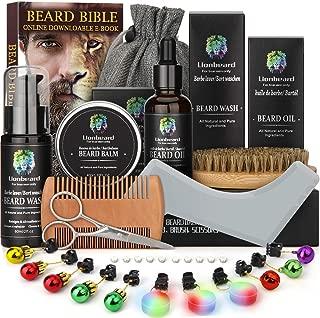 Beard Care Kit for Men Dad Beard Growth Grooming & Trimming, Beard Shampoo Wash, Beard Oil Conditioner, Beard Glitter Lights Christmas Ornaments, Balm Wax, Brush, Comb, Scissors, Xmas Gift Set for Him