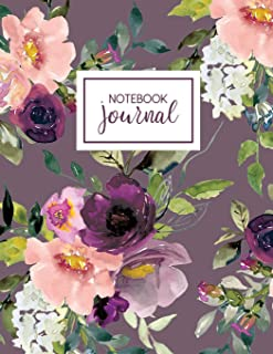 Notebook: Purple Floral Fantasy Notebook Journal, 8.5 x 11, College Ruled Composition Book