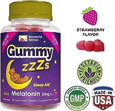 Gummy ZZZs Melatonin Sleep Aid Chews • Gelatin-Free • Drug-Free • Vegetarian • Vegan • Gluten-Free • Delicious Strawberry Chews • Kosher/Halal Friendly • For Adults, Men, Women • 90 ct (45 days)