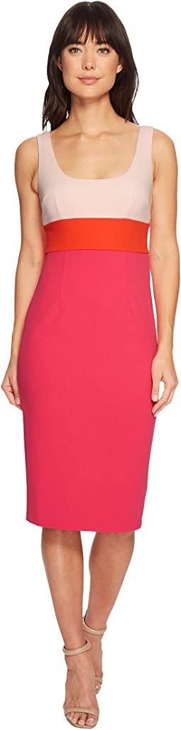Donna Morgan Sleeveless Scoop Neck Stretch Crepe Bodycon Midi Dress